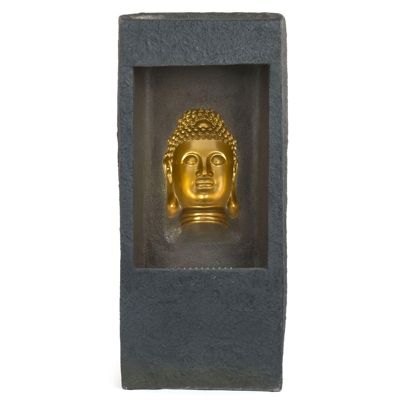 XXL Brunnen Buddha Gold 99 Cm Hohe Mit Bewegunseffekt